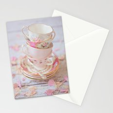 Shabby Chic Vintage Cups in Pink Stationery Cards