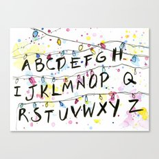 Stranger Things Alphabet Wall Christmas Lights Typography Canvas Print