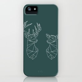 Geometric Stag and Doe (White on Slate) iPhone Case