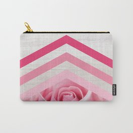 Pink Rose on White Wood - Floral Romantic Geometric Design Carry-All Pouch