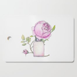 Fragrance bottle with rose flower Cutting Board
