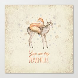 You are my adventure- fox and deer in winter- merry christmas Canvas Print