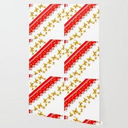 RED MODERN ART YELLOW BUTTERFLIES & WHITE DAISIES Wallpaper