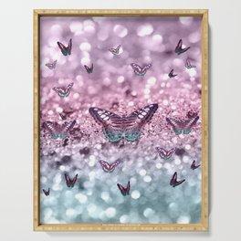 Pastel Unicorn Butterfly Glitter Dream #2 #shiny #decor #art #society6 Serving Tray