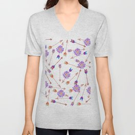 Boho Watercolor Hand Painted Flower and Arrows Unisex V-Neck