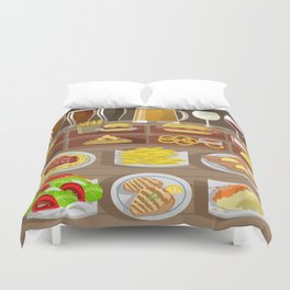 fast food gourmet food beer wine and plates Duvet Cover