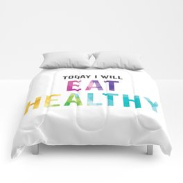 New Year's Resolution Poster - TODAY I WILL EAT HEALTHY Comforters