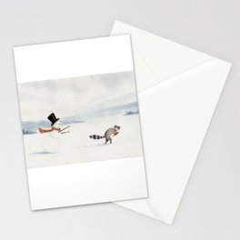 Snowman and Raccoon Stationery Cards