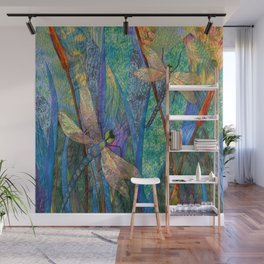 Colorful Dragonflies Wall Mural