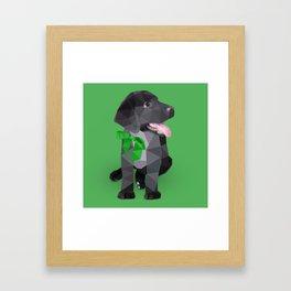 Low Polygon Black Labrador - Green Bow Framed Art Print
