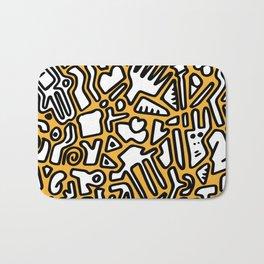 black doodle on orange Bath Mat