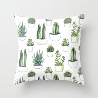 Throw Pillows featuring watercolour cacti and succulent by Vicky Webb