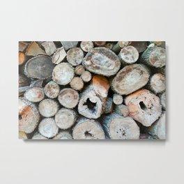 Rustic Beige Brown Logs on Woodpile Metal Print