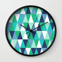 Galactic Triangles in Green and Blue Wall Clock