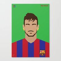 neymar Canvas Prints featuring Neymar Minimal by Stephanie Post