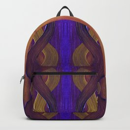 Golden Violet Autumn Waves Vertical Pattern Backpack