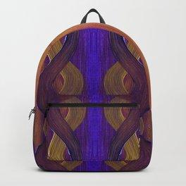 Golden Violet Autumn Waves Vertical Pattern Backpack