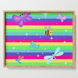 Butterflies & Rainbow Stripes Serving Tray