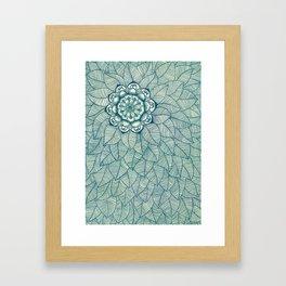 Emerald Green, Navy & Cream Floral & Leaf doodle Framed Art Print