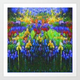 BLUE YELLOW IRIS GREEN GARDEN PAINTING Art Print