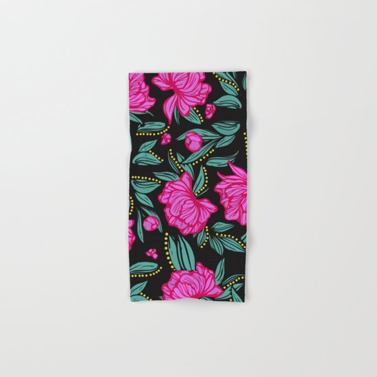 Fuscia Floral Hand Bath Towel By The Ophelia Society6