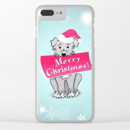 blue merry christmas Clear iPhone Case