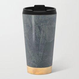 Slate Gray Stucco w Shiny Copper Metallic Trim - Faux Finishes - Rustic Glam Travel Mug