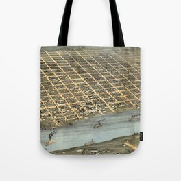 Vintage Pictorial Map of Little Rock AR (1871) Tote Bag
