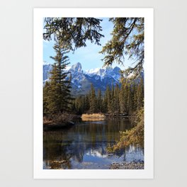 Mountain View on the water. Art Print