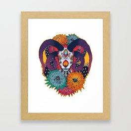 Painted Skull in Flowers Framed Art Print