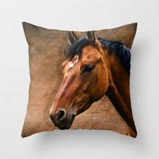 The horse portrait Throw Pillow