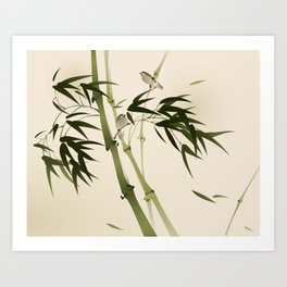 Oriental style painting, bamboo branches Art Print
