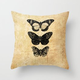 Vintage Antique Butterflies Entomology Throw Pillow