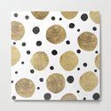 Modern abstract faux gold black watercolor polka dots pattern by girlytrend