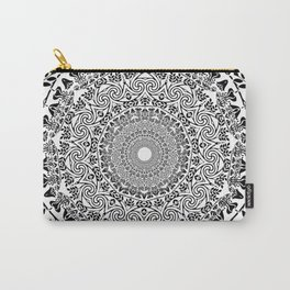 DEEP BLACK AND WHITE MANDALA Carry-All Pouch