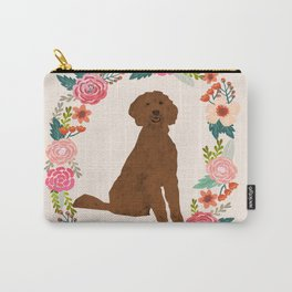 golden doodle dog floral wreath dog gifts pet portraits Carry-All Pouch