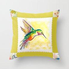 Gold Jewel Box Hummingbird Throw Pillow