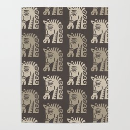 Mid Century Horse Pattern Neutral Poster