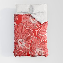Scarlet Red Poppies Comforters