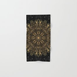 MANDALA IN BLACK AND GOLD Hand & Bath Towel