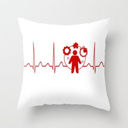 Project Manager Heartbeat Throw Pillow