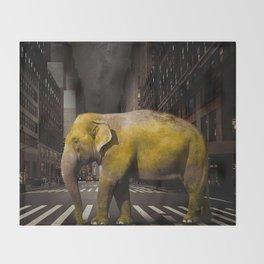 Elephant in New York Throw Blanket