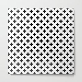 Black Crosses on White Metal Print