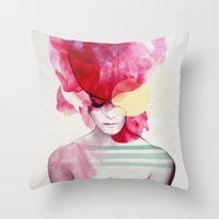 jenny liz rome Throw Pillows featuring Bright Pink - Part 2  by Jenny Liz Rome