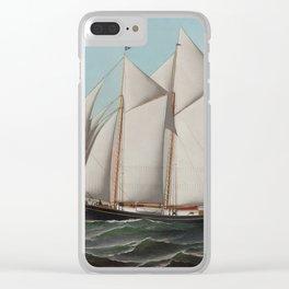 Vintage Schooner Sailboat Illustration (1887) Clear iPhone Case