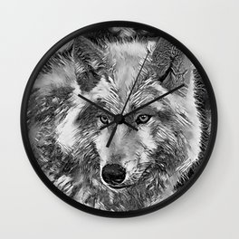 AnimalArtBW_Wolf_20170604_by_JAMColorsSpecial Wall Clock