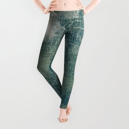 Grunge Abstract Art in Teal, Olive Green and Cream Leggings