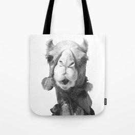 Black and White Camel Portrait Tote Bag