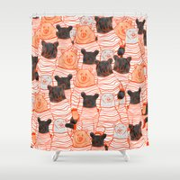 sweater Shower Curtains featuring Sweater Bears  by PKLdesigner