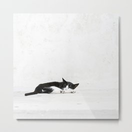 Black on White Metal Print